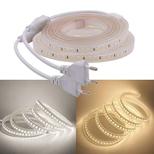 XUNATA 4 m 220 V 230 V 2835 SMD 120 LED/m Étanche IP67 Tube lumineux flexible LED pour cuisine, Stairway Home Noël Fête Décoration (Blanc naturel) 4 m)