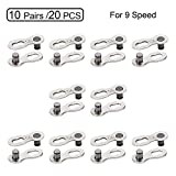 QKURT 10 Pairs 20pcs Bicycle Missing Link for 9 Speed Chain, Professional Reusable Bicycle Chain Link Connector, Steel Bike Chain Link
