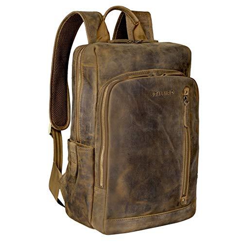 STILORD \'Johnson\' Lederrucksack Herren Business Vintage Rucksack für 13,3 Zoll MacBook Laptoprucksack Moderner Daypack für Uni Arbeit Office Echt Leder, Farbe:mittel - braun
