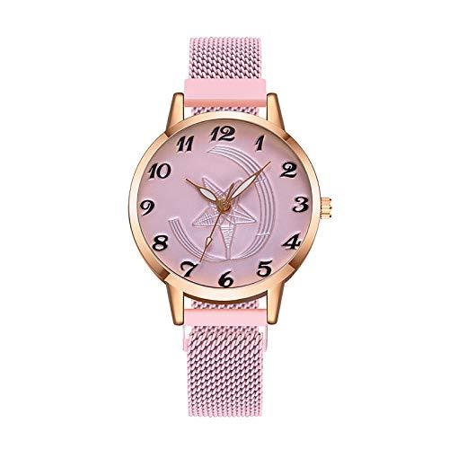 JZDH Relojes para Mujer Reloj de Mujer Mujer con Hebilla magnética Correa Reloj de Pulsera Correa de Acero Relojes Fina Reloj Relojes Decorativos Casuales para Niñas Damas (Color : Pink)