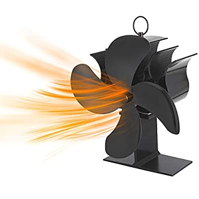 Newly Upgraded 4 Blade Fireplace Fan, Heat Powe...