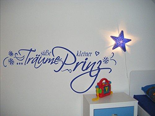 Wandtattoo Text ~ Süße Träume kleiner Prinz ~ 72024-58x23 cm, Baby Aufkleber fürs Kinderzimmer,Kinderaufkleber, Wandaufkleber Aufkleber für die Wand, Tapetensticker aus Markenfolie, 32 Farben wählbar