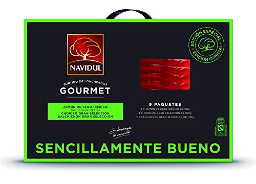 Navidul Maletín de Jamón de Cebo Ibérico freshpack 3x110g, Chorizo Gran selección freshpack 3x100g y Salchichón Gran selección freshpack 3x100g 930 g