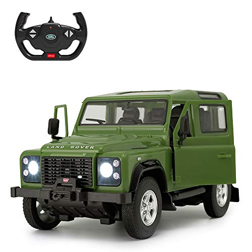 Land Rover Defender RC Car, RASTAR 1/14 Land Rover Remote Control Toy Model Car, Doors Opened by Manual – Green