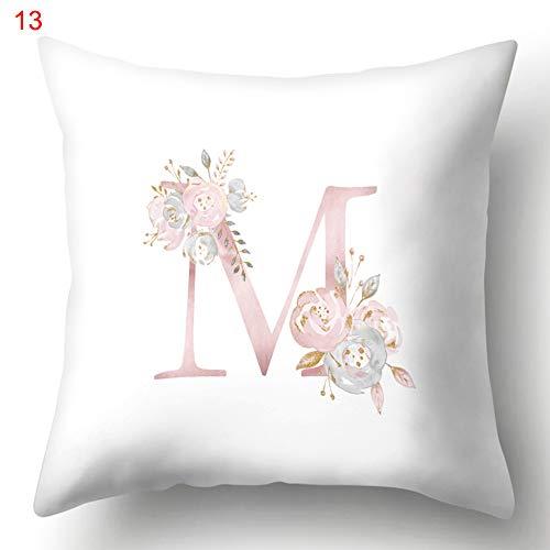 EMVANV Funda de almohada de 45 x 45 cm, poliéster, funda de almohada personalizada, funda de almohada A-Z, regalo sin cojín, funda de almohada cuadrada, diseño de letras, M, Tamaño libre
