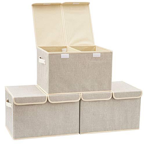EZOWare 3-Pack Aufbewahrungsbox mit Deckel, Cube Aufbewahrungskorb Ordnungsystem Stauraum Boxen Körbe Kisten (Silber grau)