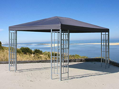QUICK STAR Rank Pavillon 3x4m Metall Garten Partyzelt Anthrazit RAL 7012