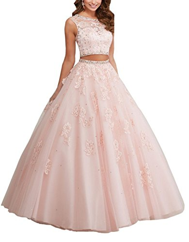 MIYA Long Lace Ball Gown Two Piece Rhinestones Quinceanera Dresses Prom Gowns MY049 Pink