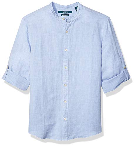 Perry Ellis Men's Standard Slim Fit Linen Cotton Rolled Sleeve Banded Collar Shirt, Colony Blue, X Large