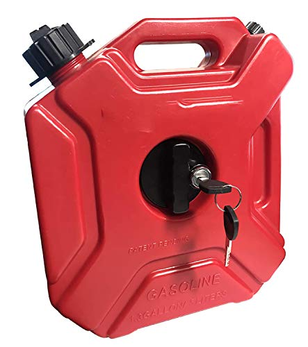 Bidón de gasolina, depósito de combustible de repuesto para motocicleta, tambor de gasolina diésel a prueba de explosiones de plástico 3L / 5L con cerradura y tubo de combustible,3l