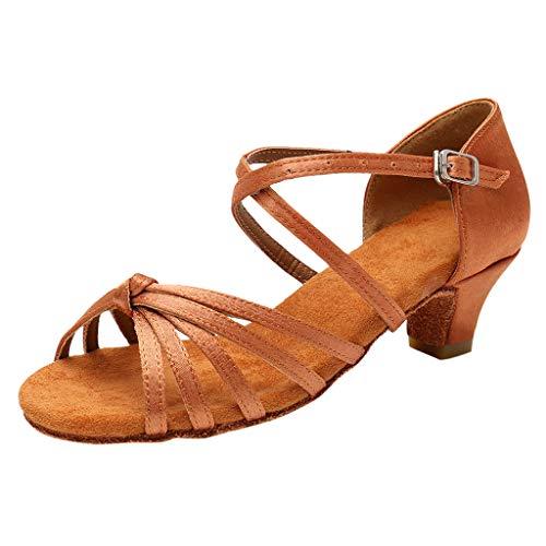 Deajing Zapatos Niña Zapatos Verano Zapatos de Baile de Tango Latino para Niños Bailarina Vestir Fiesta Princesa Sandalias Tacon Zapatitos de Sandalias Princesa Niña 4-15 Años