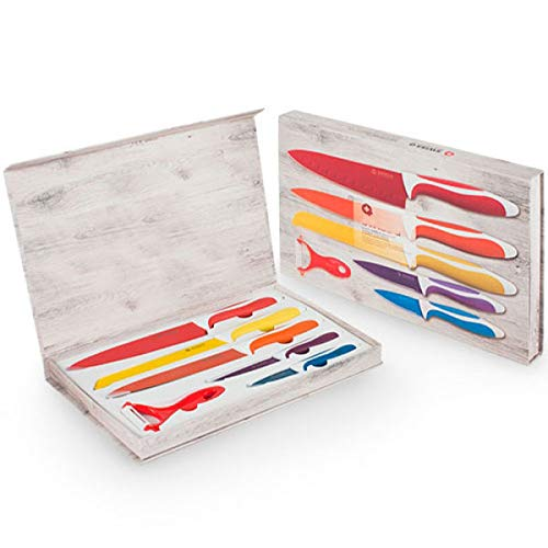 SHOP-STORY - 5 Couteaux De Cuisine avec Économe Set en INOX Colorés Recouverts De Céramique
