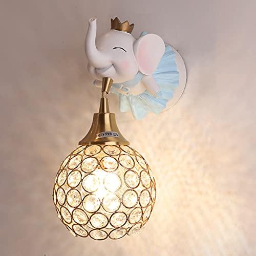 Creativo Lámpara de Pared Niños Cuarto Luz de la Noche Azul Resina Elefante Linda Habitacion para Niños Aplique de Pared E27 Cuarto del Bebé Chico Niña Luz de Pared Moderno Lámpara de Cabecera