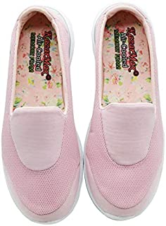 KazarMax Women's Pink Slipon's Walking Sneakers (Washable with Quick Dry Fabric) (Made in India)
