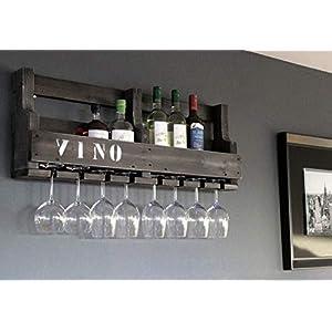Weinregal aus Holz für die Wand – mit Gläserhalter und VINO Schriftzug – Schwarz Shabby – fertig montiert – Regal für…