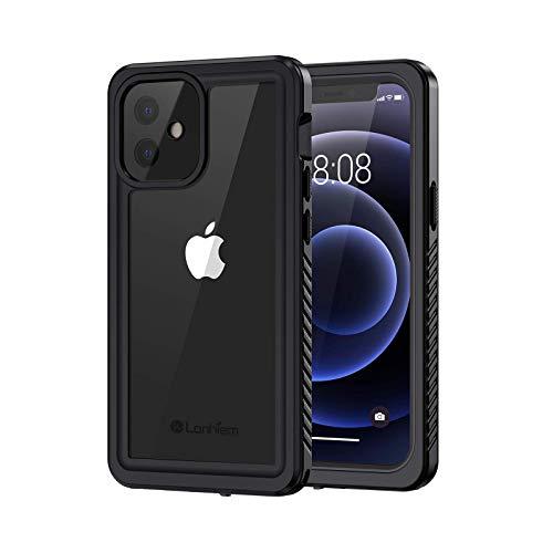 Lanhiem für iPhone 12 Mini Hülle, Hülle iPhone 12 Mini, IP68 Wasserdicht Handy Hülle 360 Grad Schutzhülle, Stoßfest Staubdicht Schneefest Outdoor Panzerhülle mit Eingebautem Displayschutz, Schwarz