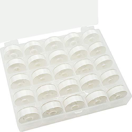New brothread 25pcs Tipo L Tamaño (SA155) Blanco hilo de la canilla preenrollado Lado de plástico para máquinas de bordar y coser especificadas - 60wt