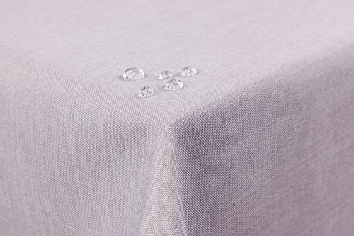 First-Tex Mantel de aspecto de lino, efecto loto, lavable, con borde de dobladillo recto, 160 x 400 cm, rectangular, en plata/gris claro