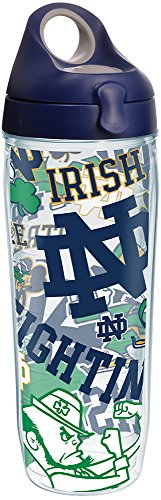 Tervis 1277388 Notre Dame Fighting Irish All Over Tumbler with Wrap and Navy with Gray Lid 24oz Water Bottle, Clear