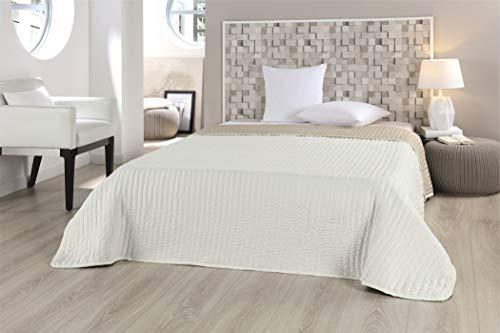 MB Warenhandel24 Tagesdecke XXL Allzweckdecke ca. 220x240 Patchwork Landhaus Sofa Bettüberwurf (Uni Wende Sand)