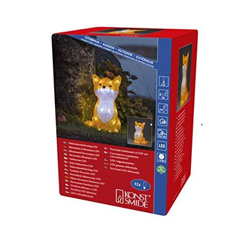 Konstsmide, 6275-203, LED Acryl Fuchs, 32 kalt weiße Dioden, 24 Außentrafo, weißes Kabel
