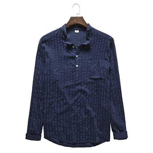 Otoño Camisa Casual con Cuello Alto para Hombre Color Puro Transpirable Suave Cómodo Jersey Todo fósforo, con Bolsillo L