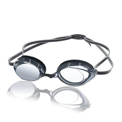 Nabevin Swim Goggles for Men and Women–Anti-Fog Racing Goggles–Vanquisher Mirrored Swimming Goggles (Clear 2.0)
