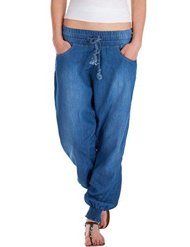 Fraternel Damen Jeans Stoffhose Baggy Pluderhose Haremshose Sarouel Blau XXL