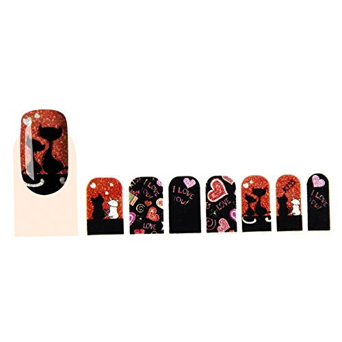 GLAM UP - Stickers Vernis Adhésifs ongles - Love Chats Rouge Noir