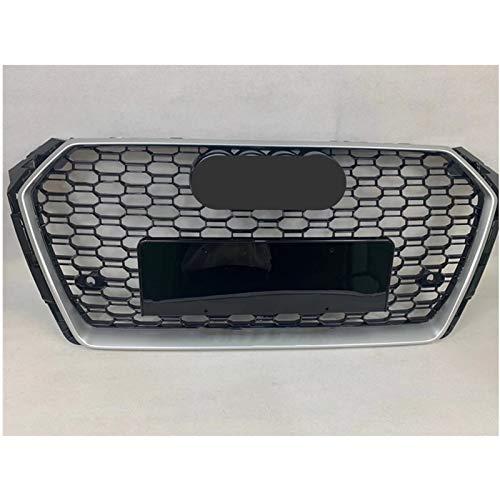 DPFXNN Rejillas de radiador Front Sport Hex Mesh Honeycomb Hood Grill Plata Marco Negro Grill para Audi A4 / S4 B9 2017-2019 (Color : Chrome Emblem)