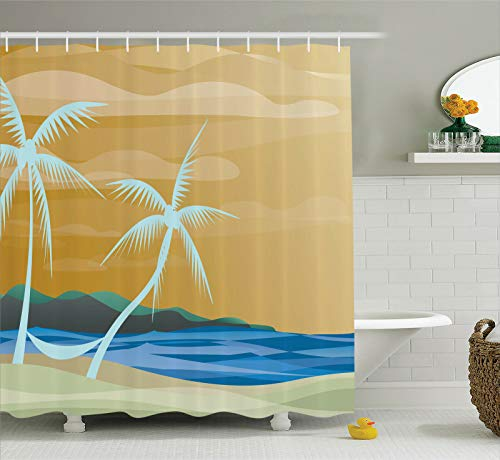 /N Hammock in Tropical Sandy Beach on Exotic Ocean Art Print Shower Curtain