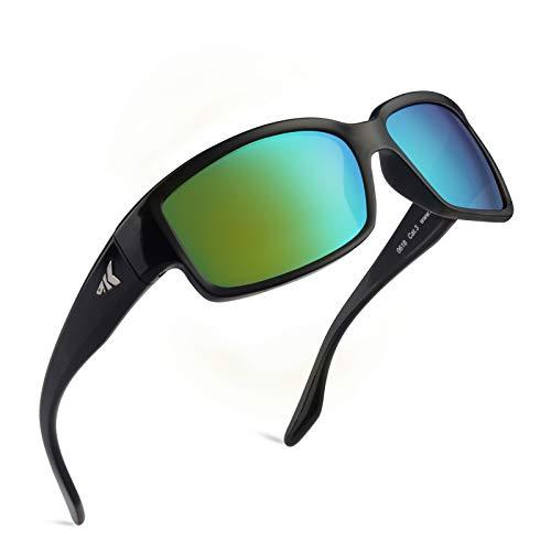 KastKing Skidaway Polarized Sport Sunglasses for Men and Women, Gloss Black Frame, Brown Base Chartreuse Mirror