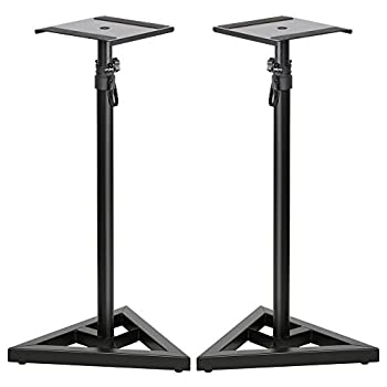 Topeakmart 2 Pcs Speaker Stands Adjustable Monitor Metal Set Speaker Triangle Pair Steel Stands
