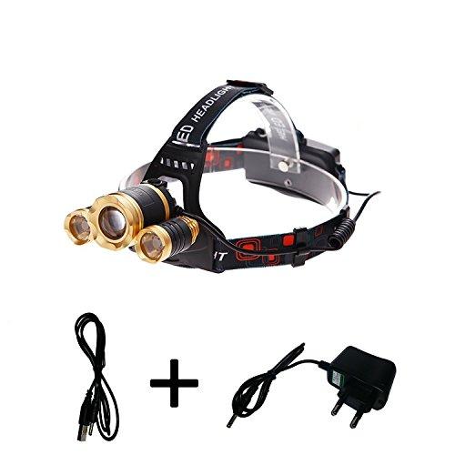 Leducia - Linterna frontal recargable de gran potencia, calidad premium, cómoda, gran autonomía, elección de iluminación y zoom, para bicicleta, running, Speleo, camping, etc.