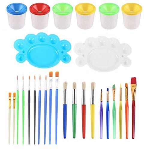 MYhose No Spill Paint Cups Set mit Deckel und Pinsel für Watercolors Art 28 Pieces Color Random
