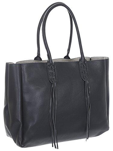 Sondra Roberts Ladies Handbags Nappa Tote With Linen Insert Black