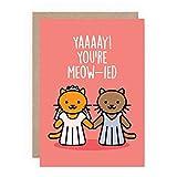 Tarjeta de felicitación de boda lesbiana de gato divertido – Tarjeta de felicitación para boda gay, LGBTQI,...