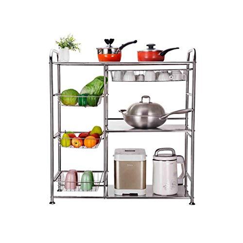 Z-LIANG Estante de almacenamiento de verduras 304 acero inoxidable estante de la cocina del estante multi capa de suelo del horno microondas parrilla del horno de almacenamiento en rack Escurrir la ce