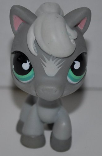 Horse #524 (No Saddle: Gray, Blue Eyes) 2006 Littlest Pet Shop (Retired) Collector Toy - LPS Collectible Replacement Single Figure - Loose (OOP Out of Package & Print)