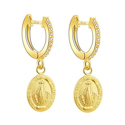 Iyé Biyé Jewels - Pendientes Aros Virgen Milagrosa 13mm Mujer Niña Plata de Ley 925 Bañados Oro Amarillo Cierre Clip