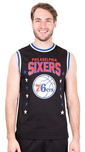 Ultra Game NBA Philadelphia 76ers Mens Jersey Sleeveless Muscle T-Shirt, Black, X-Large