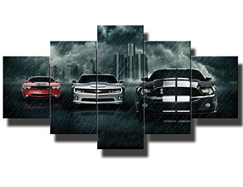 Black and White Pictures Red Sports Cars Painting Canvas 5 Panel Canvas Wall Art Modern Artwork Home Decorations for Living Room Bedroom Giclee Wooden Frame Gallery-wrapped Ready to Hang(60''Wx32''H)
