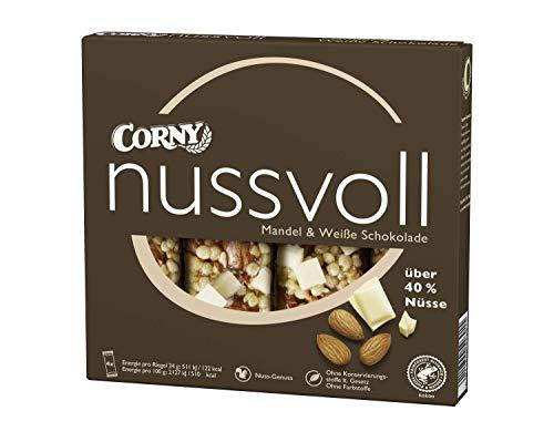 Corny Nusvoll Mandel und Weiße Schokolade 4er, Nussriegel mit über 50{2bb2b023b87b57a3969923ffaa70e5df7e7168226942e3a99d40406370a6f661} Nüsse, 12er Pack (12 x 4 x 24 g)