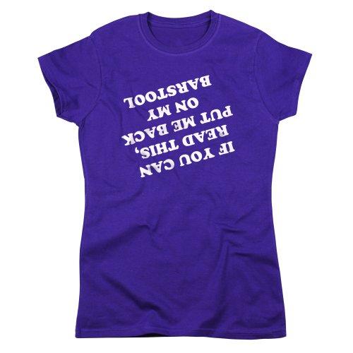 Nutees Als U Lees Dit Zet Me Terug Barkruk Vrouwen T Shirt - Paars