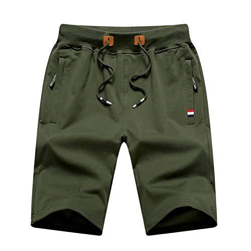 NALLBEIRRAA Mens Shorts Casual Drawstring Elastic Waist with Zipper Pockets Workout Shorts Army Green XXL
