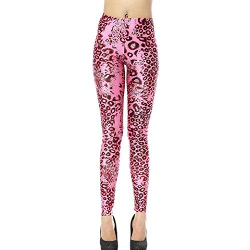 Aivtalk Moda Leggings Skinny Pantalones Lápiz Elásticos Pants para Mujer - Estampado de Leopardo Rosa