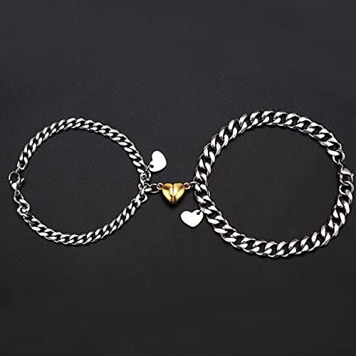 XIANZI Pulseras de la amistad, pulseras para parejas, pulseras para hombre y mujer, parejas, mejores amigos, colgantes dorados, pulsera magnética de acero de titanio