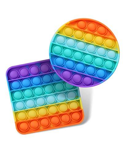Bycc Bynn Brinquedos de apertar sensoriais com bolhas de pressão, autismo, TDAH, necessidades especiais, alívio do estresse, brinquedos sensoriais de silicone para alívio de pressão, brinquedo de apertar (redondo + quadrado)