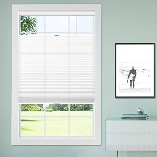 Keego Cordless Shades for Windows Top Down Bottom Up Cellular Blinds, Custom-Made Cordless Light Filtering Insulated Noise-Reduce Honeycomb Shades for Home Office Bedroom, White