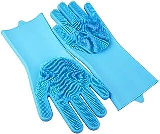 جوانتيات غسيل الصحون من السيليكون متينة ومضادة للانزلاق ومقاومة للحرارة والمياه لون ازرق
